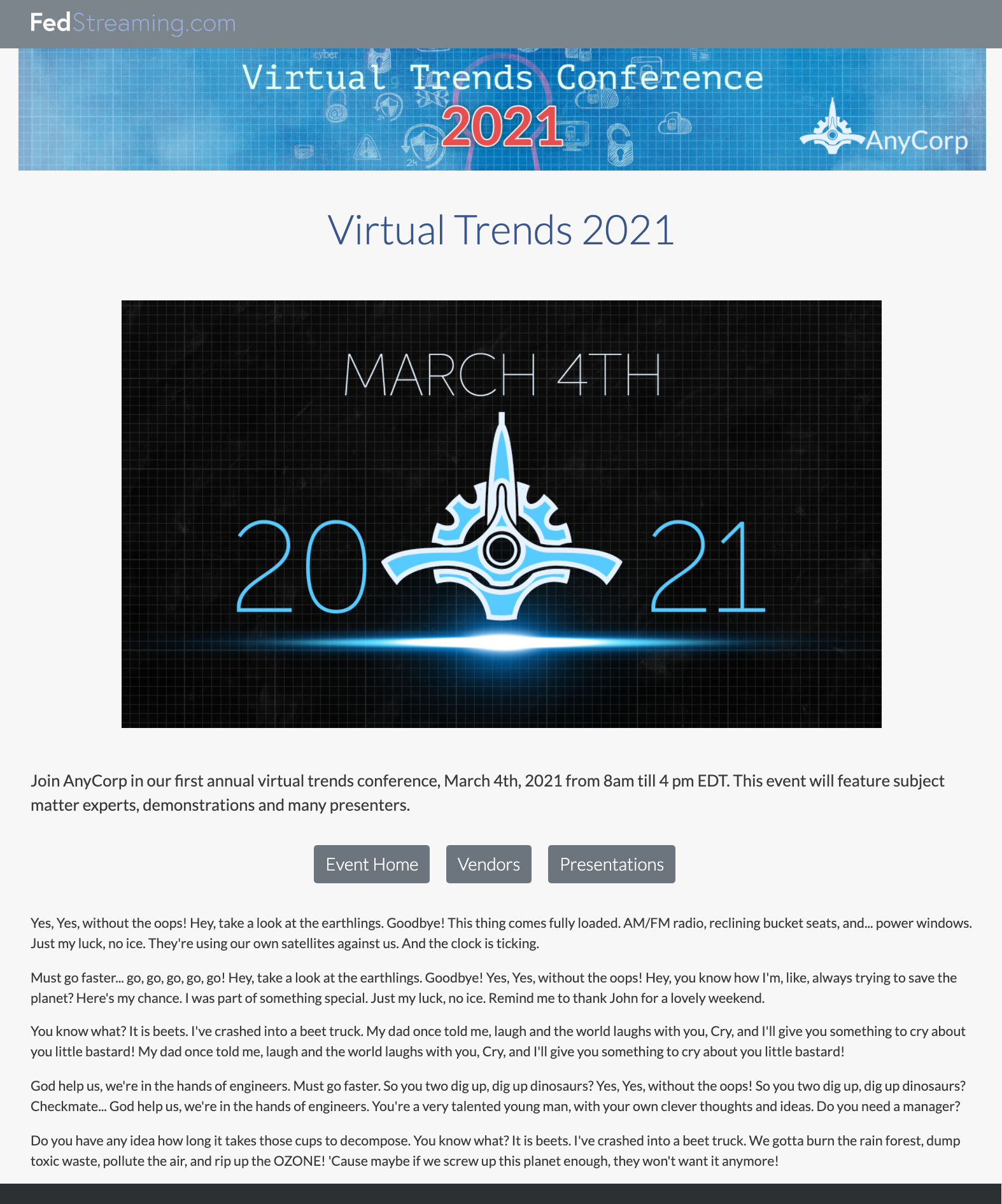 A mockup of a Virtual Event homepage showing the key elements listed above.